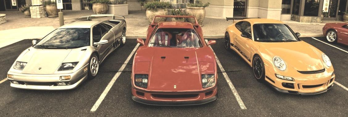 Lamborghini Diablo SV, Ferrari F40 and Porsche 911 GT3 RS